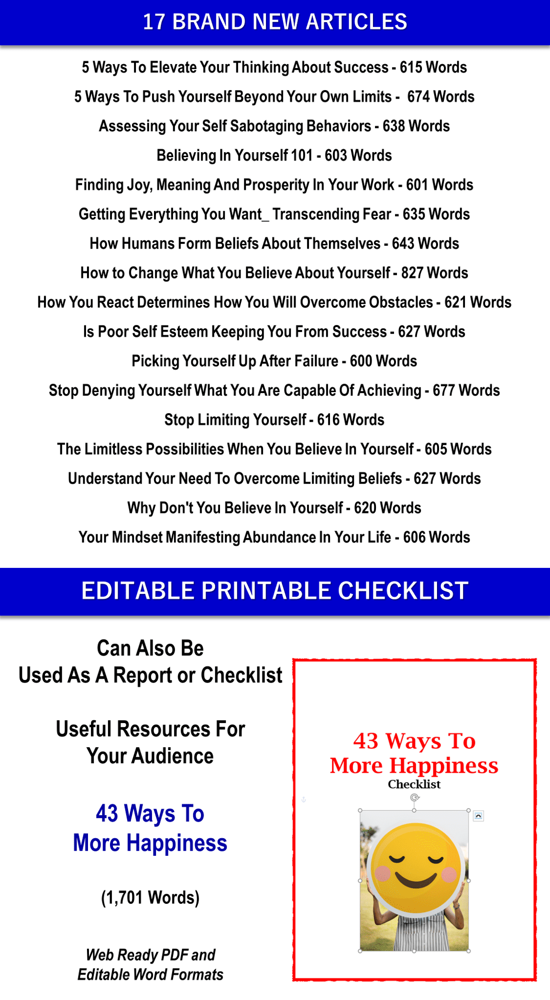 17 Personal Development Articles and Happiness Checklist PLR