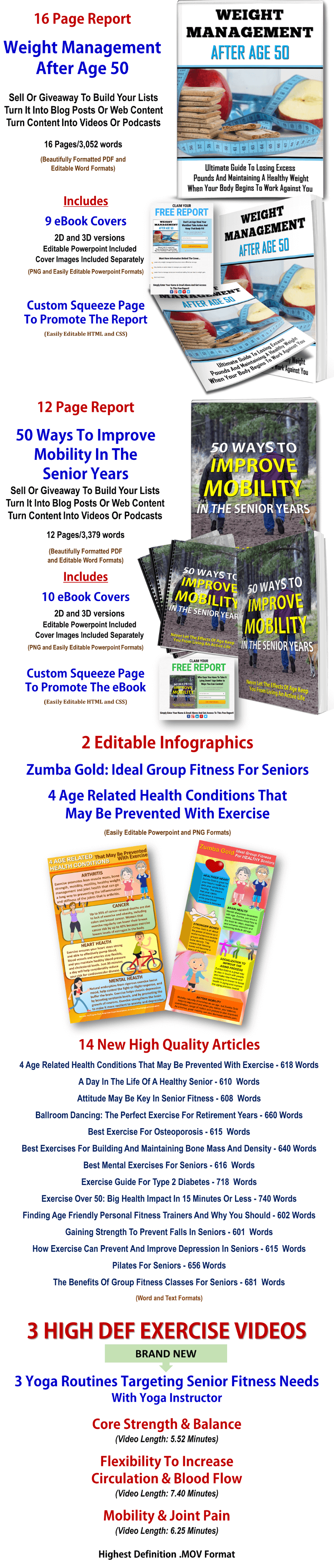 Mobility For Seniors, Weight Loss After 50 Reports & Aging Fitness Videos, Articles PLR Multi Pack