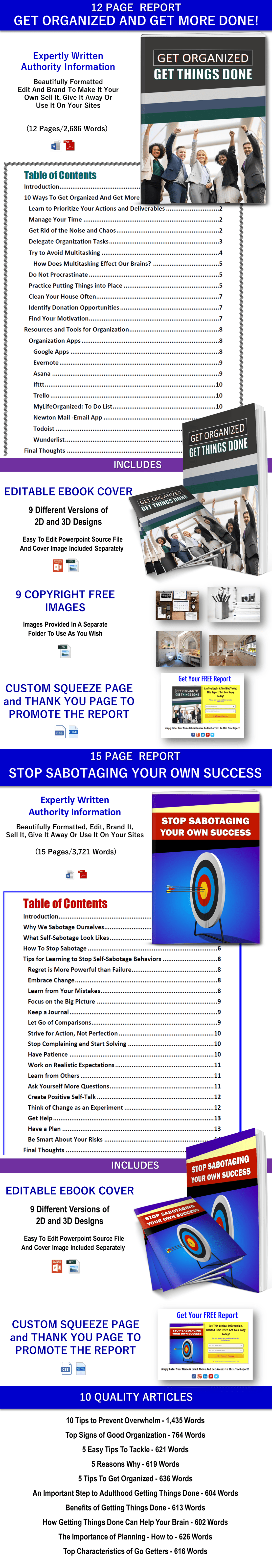 Get Organized and Get Things Done and Sabotage Success PLR
