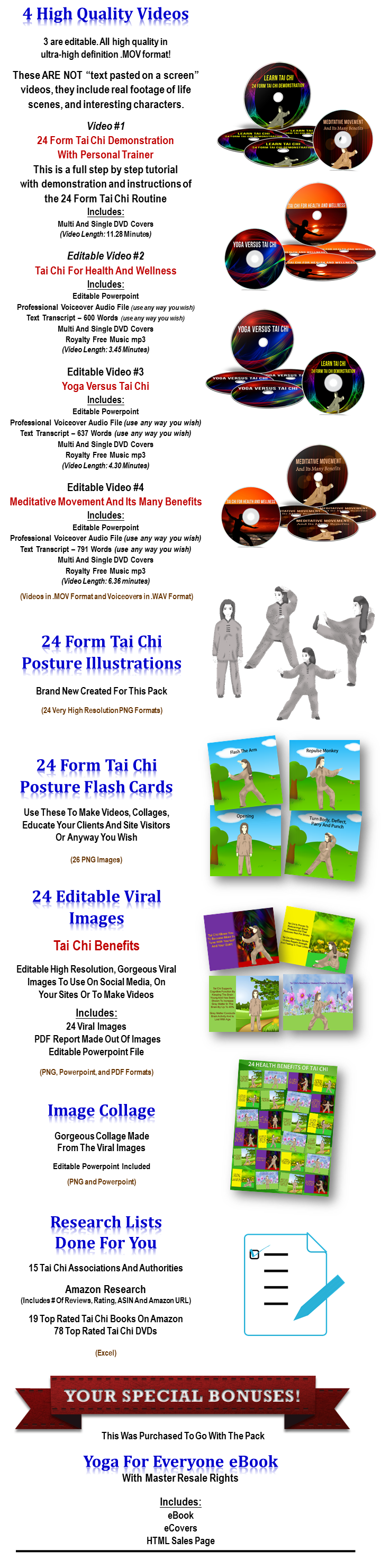 tai chi and meditation PLR content pack