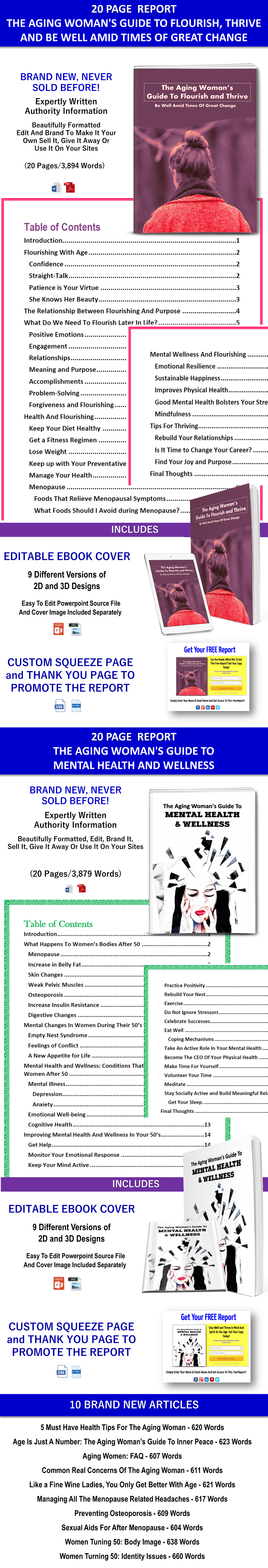Aging Women Flourish and Mental Health PLR