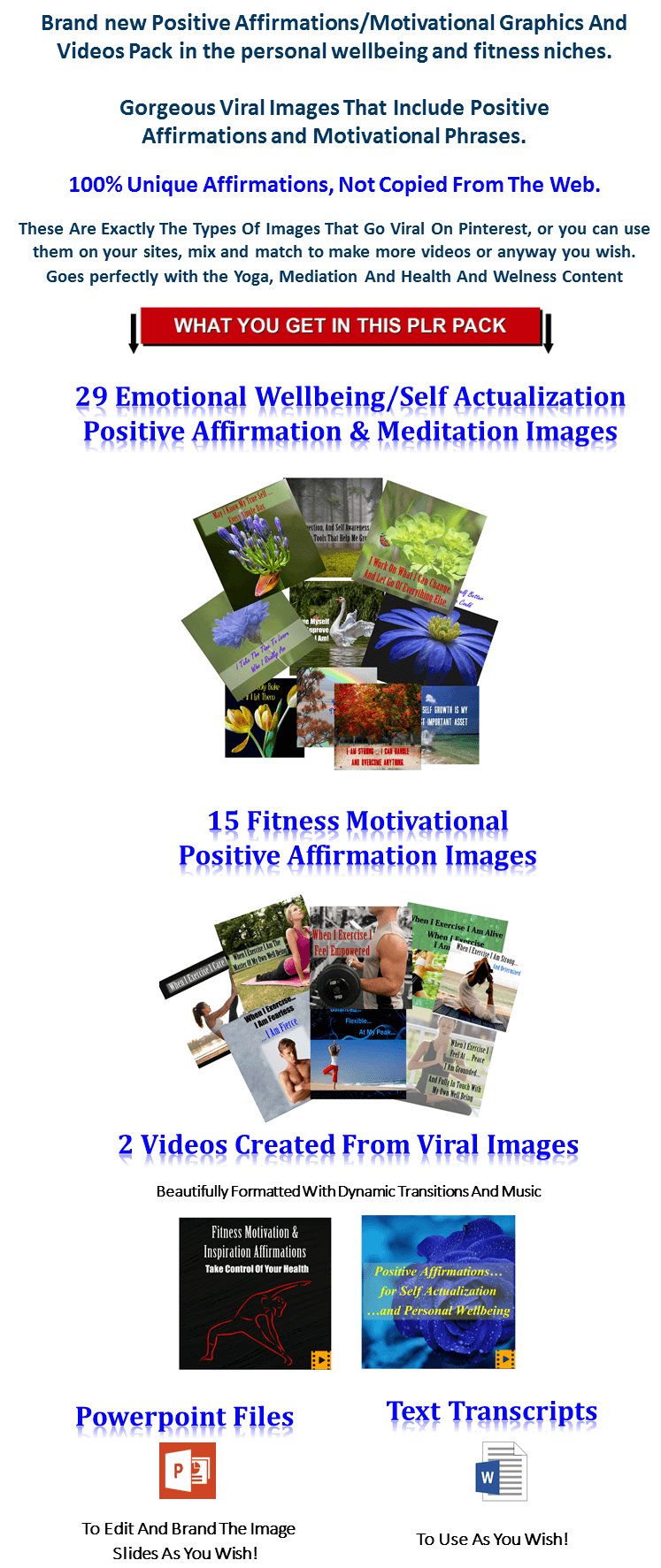 Healing Meditation/Positive Affirmations Videos And Images PLR