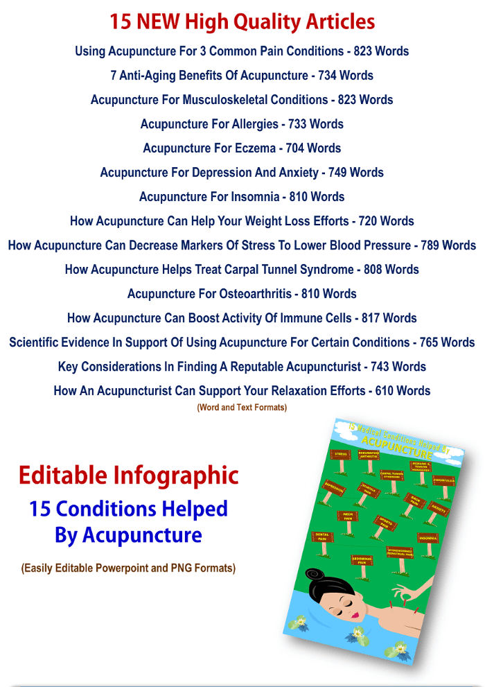 Acupuncture Articles And Infographic PLR Pack With Private Label Rights