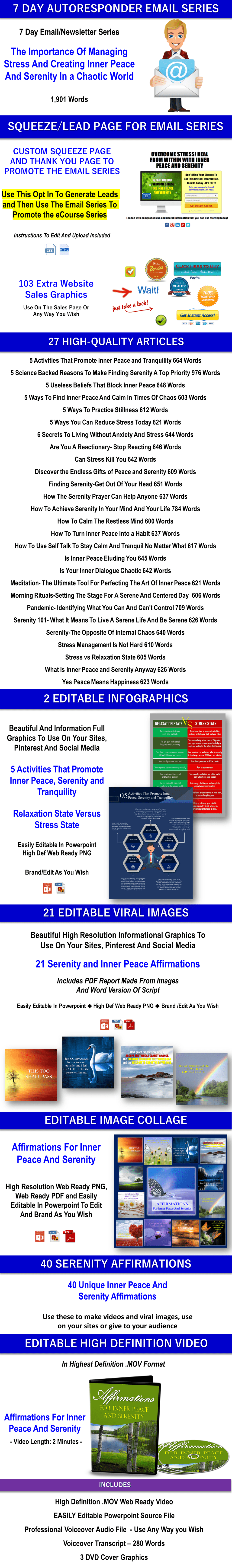 10 Part eCourse: Combat Stress - Find Inner Peace & Serenity Giant Content Pack Private Label Rights