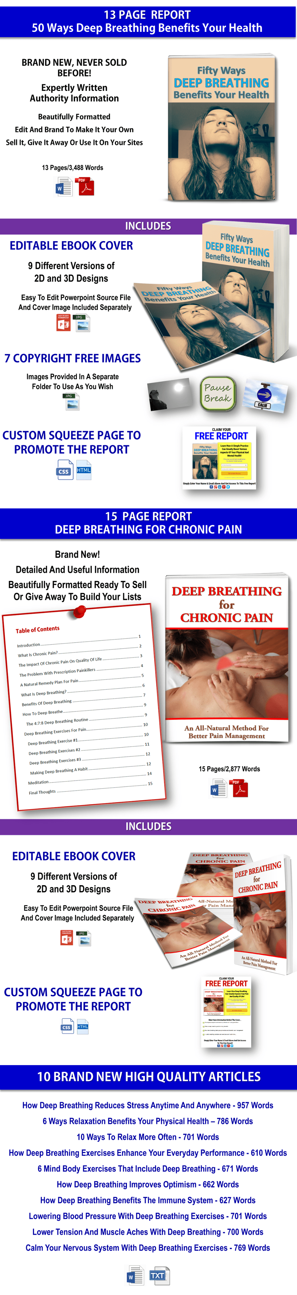 Deep Breathing For Health Reports PLR Pack