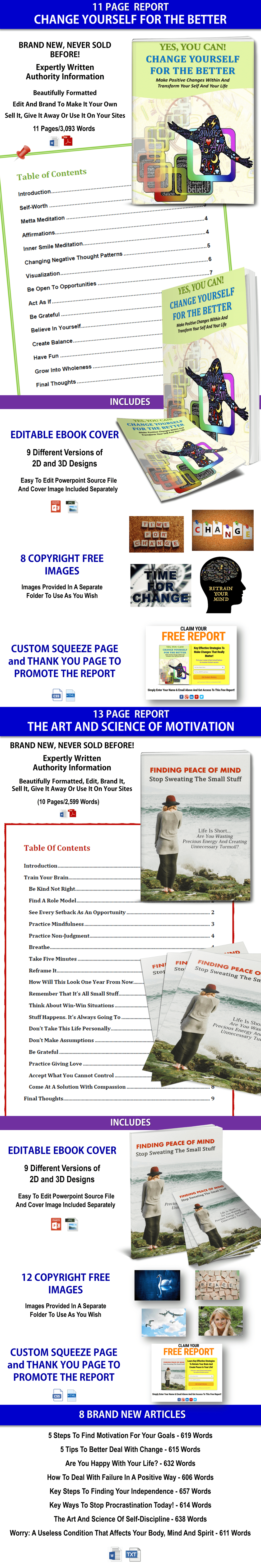 Change Yourself/Peace Of Mind Self Help/Personal Development PLR