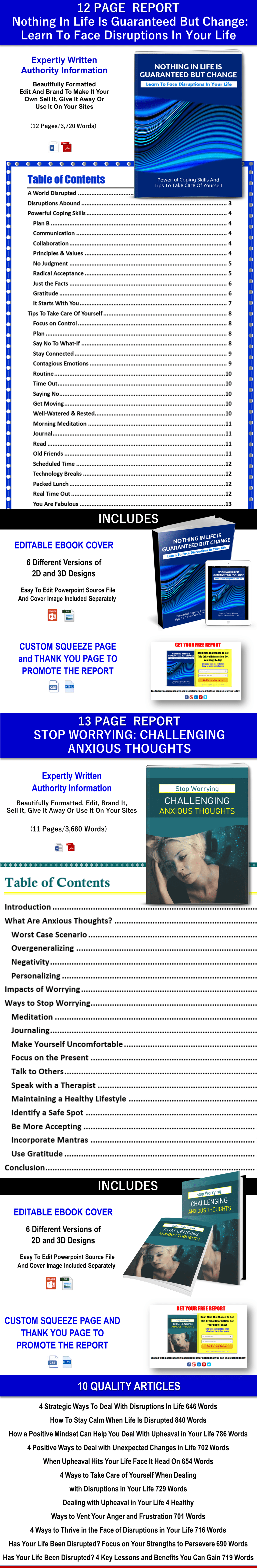 Nothing In Life Is Guaranteed But Change: Learn To Face Disruptions In Your Life Report and Stop Worrying: Challenging Anxious Thoughts And Articles With PLR Rights