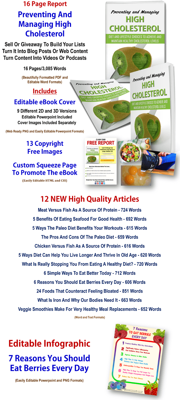 High Cholesterol eBook and Articles PLR