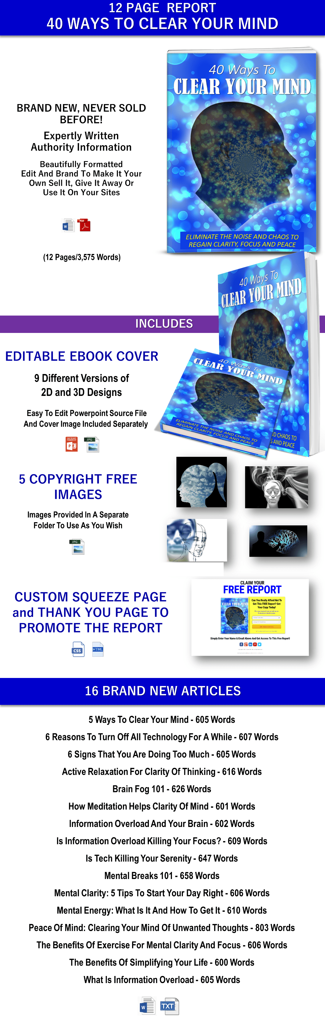 Clear Mind Report, Articles PLR