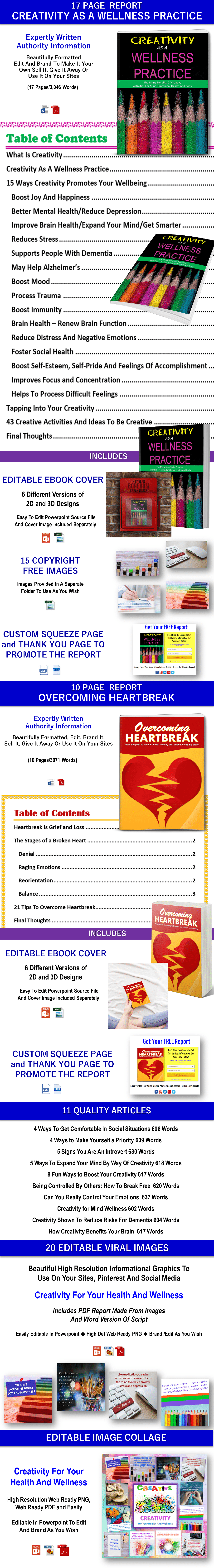 Creativity as a Wellness Practice and overcoming Heartbreak content plr,