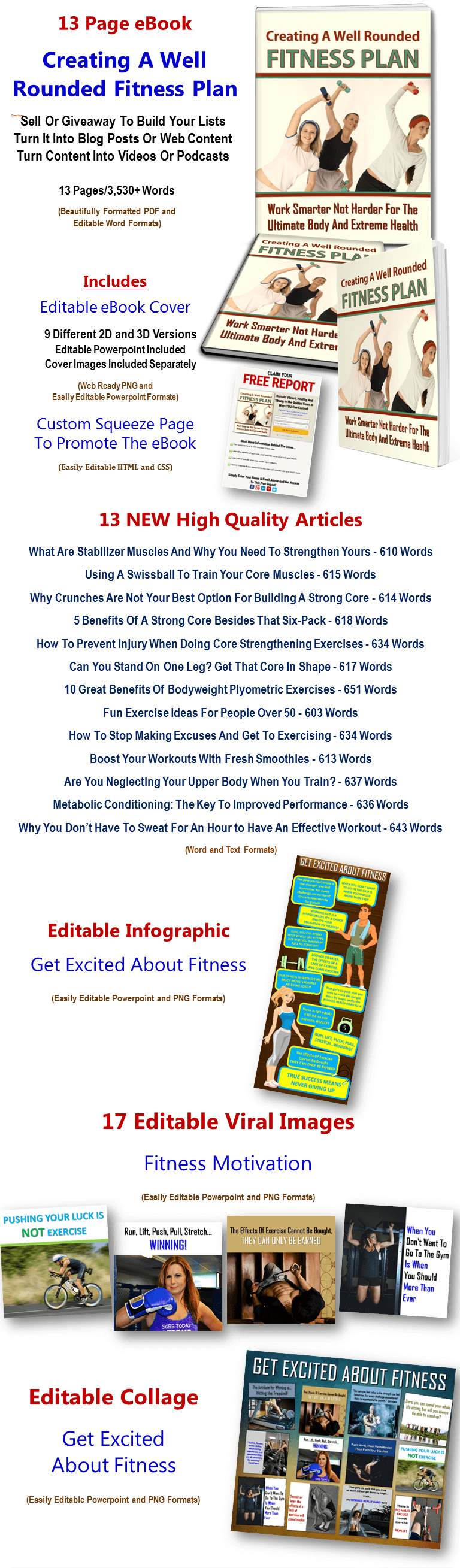 Fitness Plan eBook, Articles, Images, Infographics PLR Pack