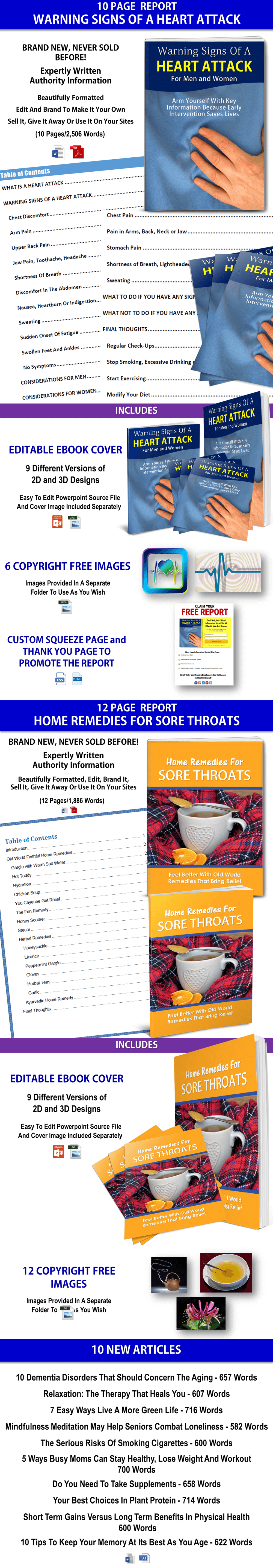 Signs Of Heart Attack, Natural Remedies For Sore Throat & Articles PLR Multi-Pack