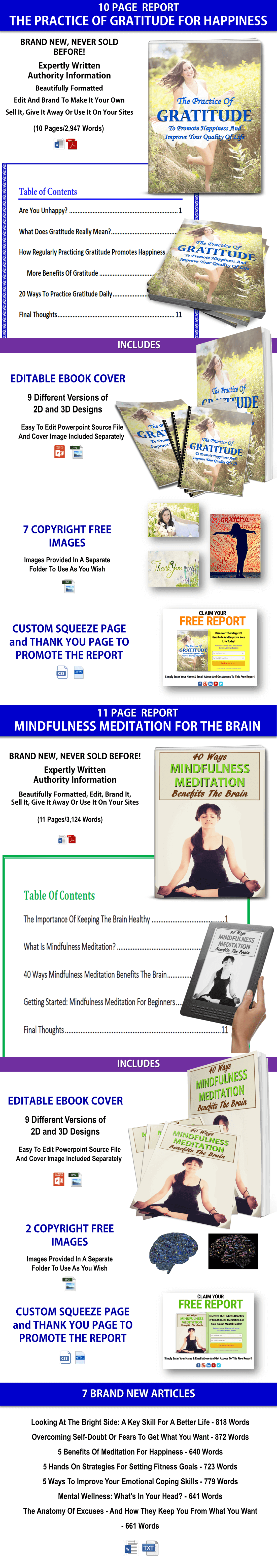 Gratitude For Happiness Report, Mindfulness For Brain Report & Articles PLR