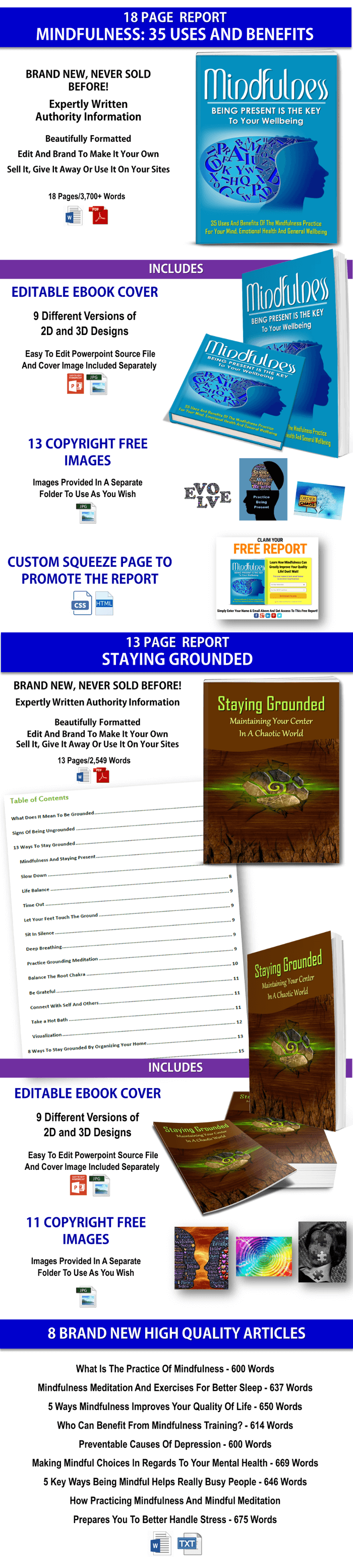 Mindfulness & Staying Grounded Reports & Articles PLR Pack