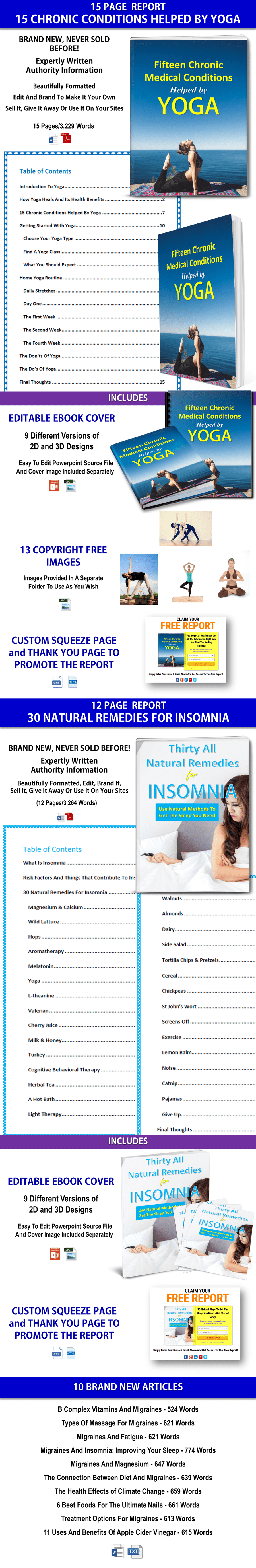 Insomnia Remedies and Yoga For Health PLR