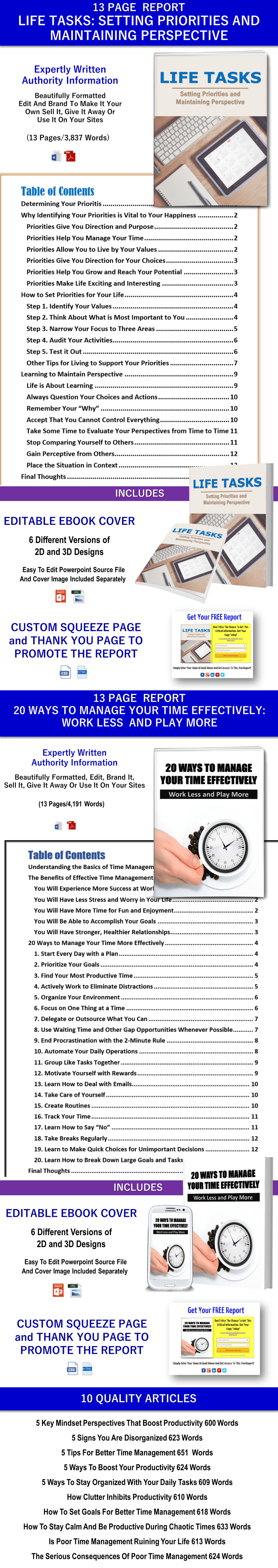 20 Ways To Manage Your Time Effectively Report, Life Tasks: Setting Priorities And Maintaining Perspective Report and 10 Articles PLR