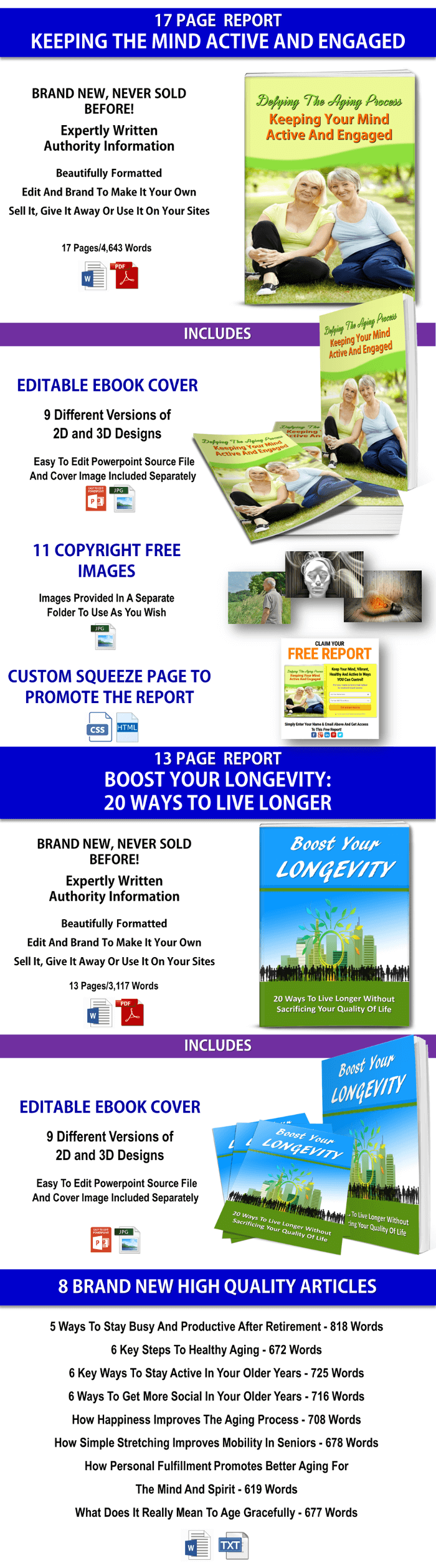 Anti Aging-Keeping Your Mind Active -Longevity PLR Pack