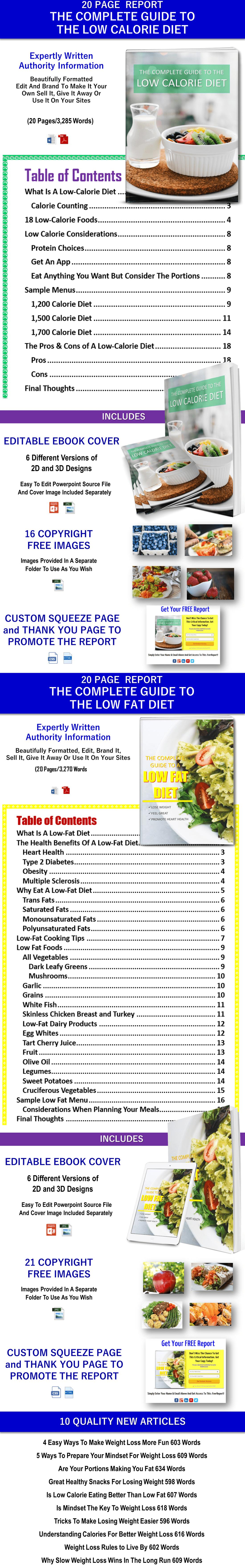 Low Calorie Diet Report, Low Fat Diet Report and 10 Diet Articles PLR