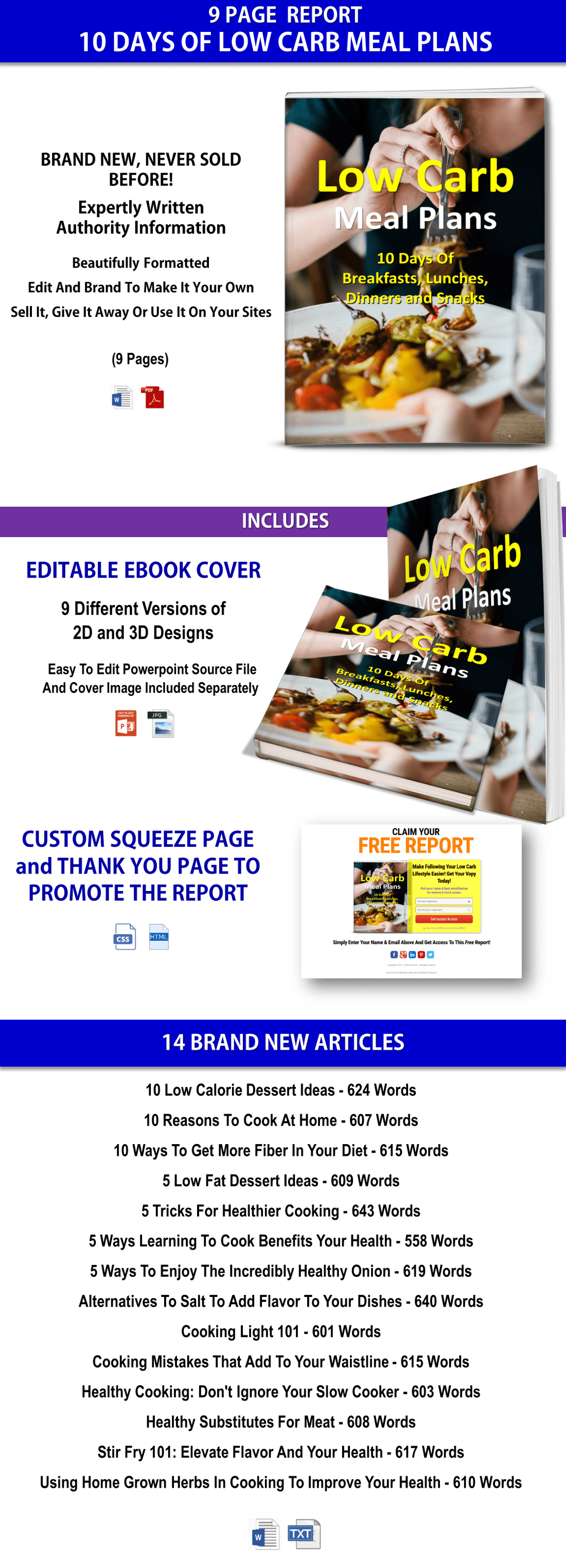 Low Carb Meal Plans and Articles PLR