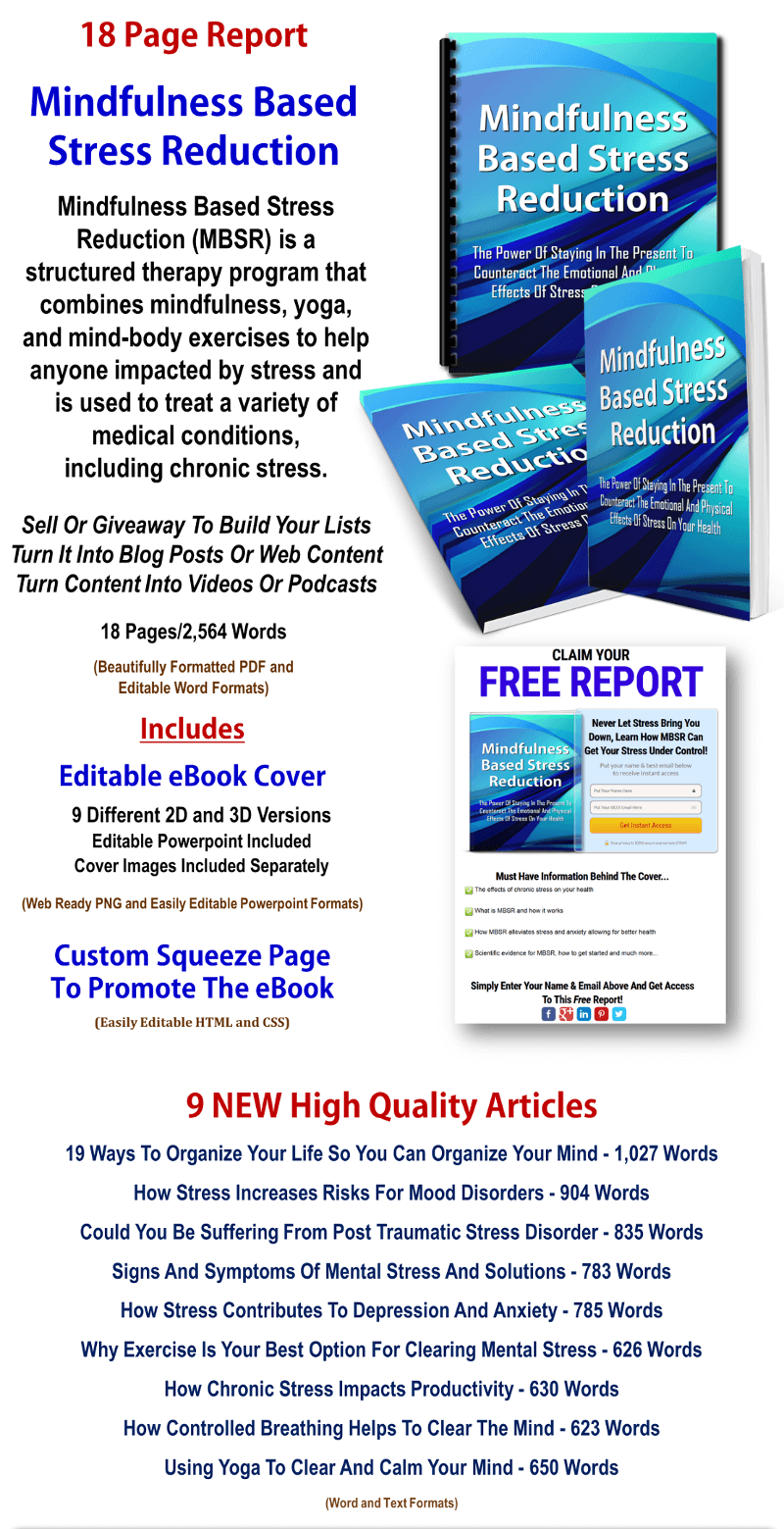 Mindfulness Based Stress Reduction Report And Articles PLR Pack