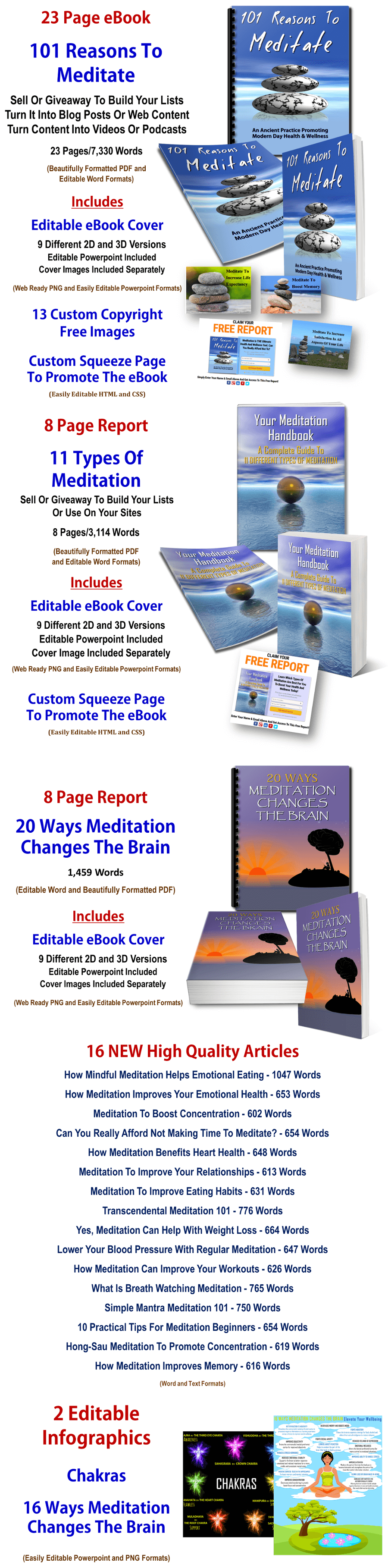 Meditation eBooks, Infographics And Articles PLR Pack