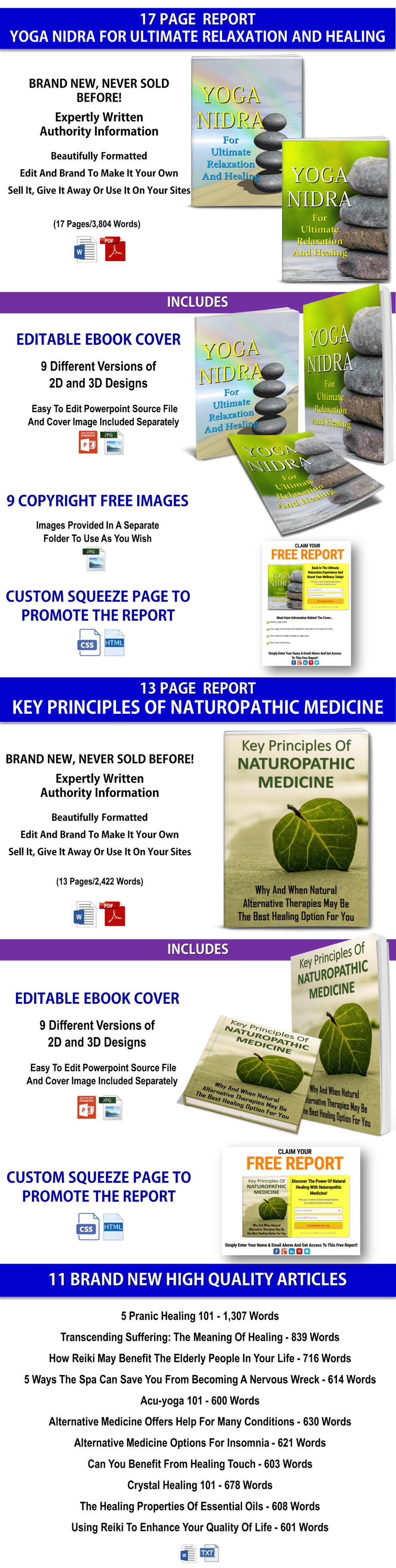Naturopathy, Yoga Nidra Reports And Alternative Medicine Articles PLR