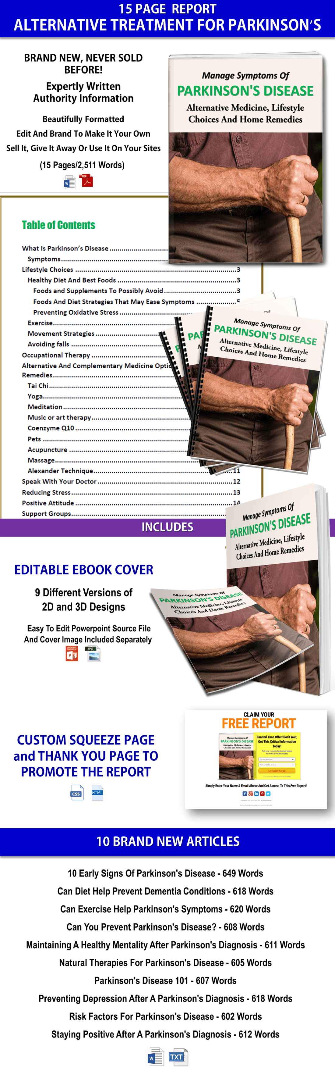 Parkinson's Disease Report & Articles PLR Pack