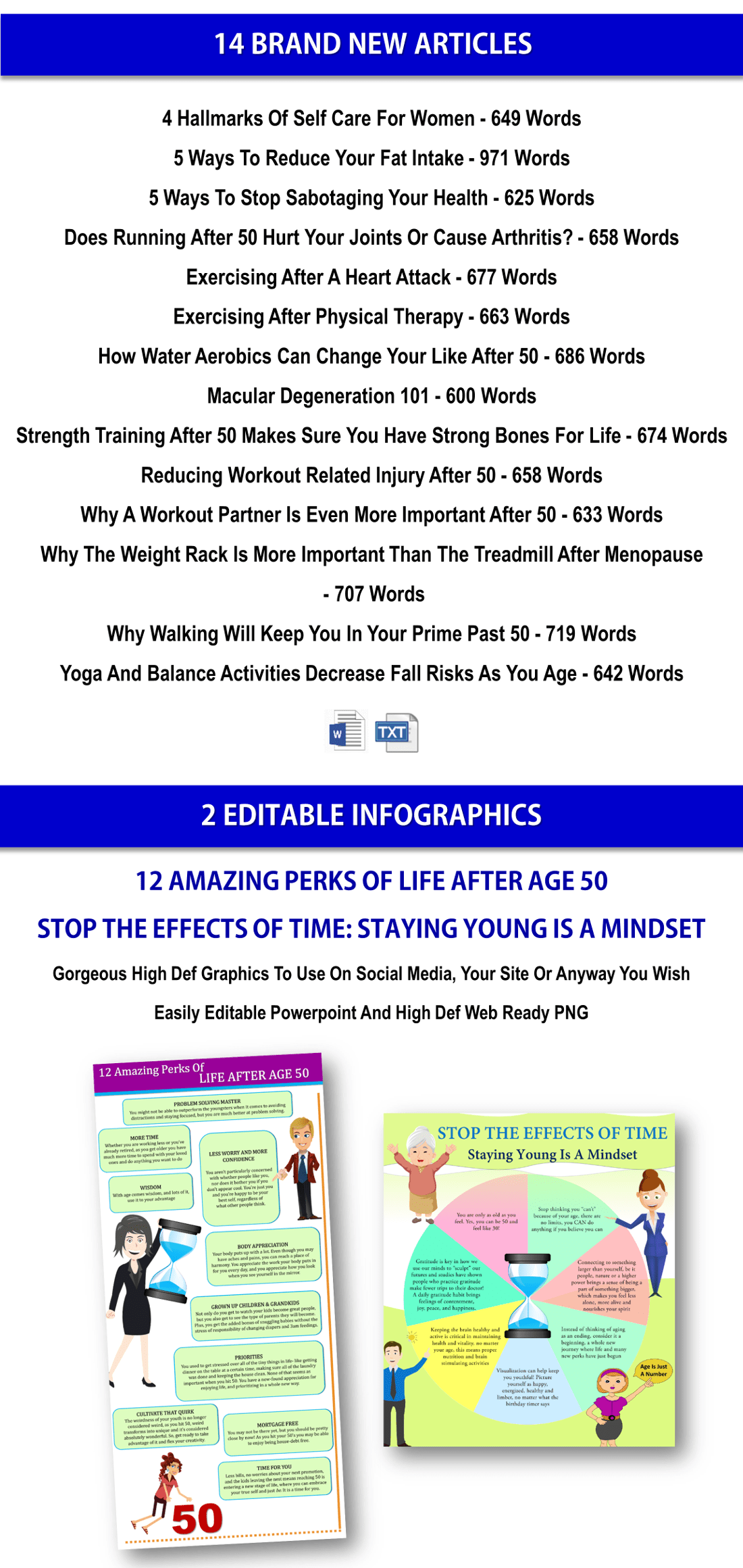 Healthy Aging PLR Reports, Articles, Infographics
