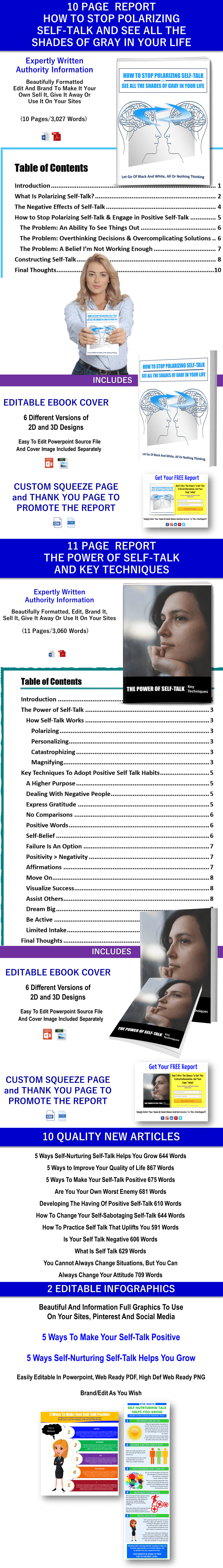 Stop Polarizing Self Talk Report, The Power Of Self Talk Report, 2 Editable Infographics and 10 Articles PLR