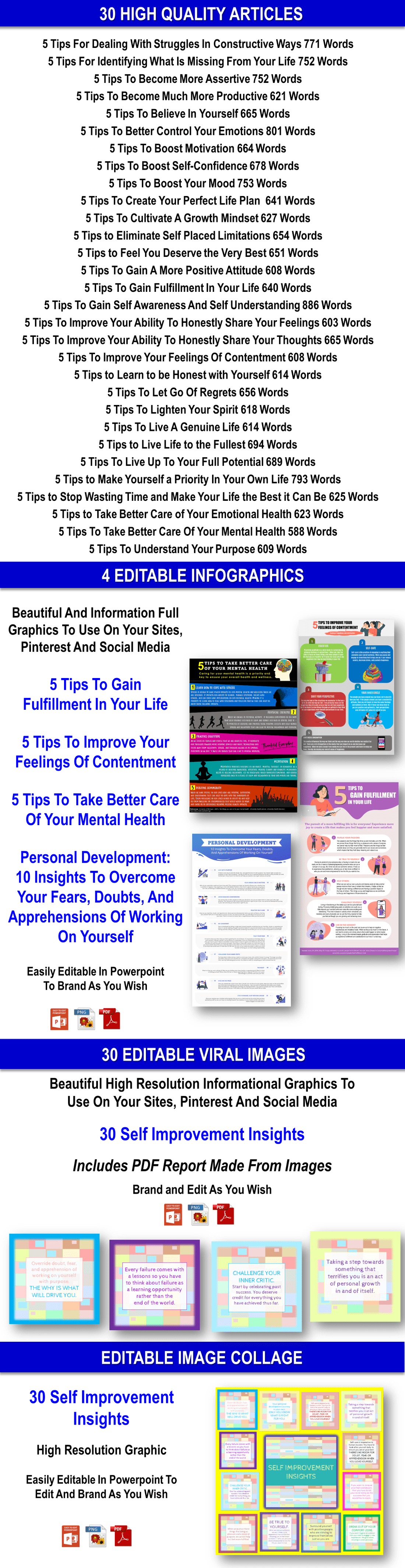 100 Personal Development Goals And Ideas Content Pack With PLR Rights