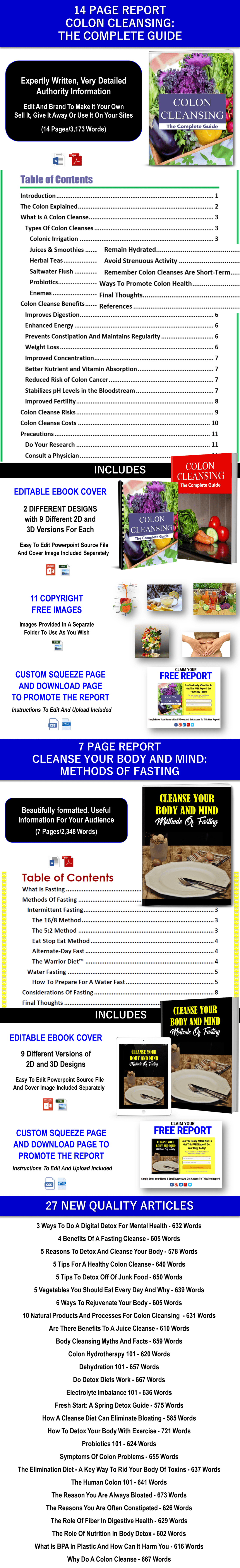 COLON CLEANSE, FASTING CLEANSE AND MORE DETOX CONTENT PLR Rights