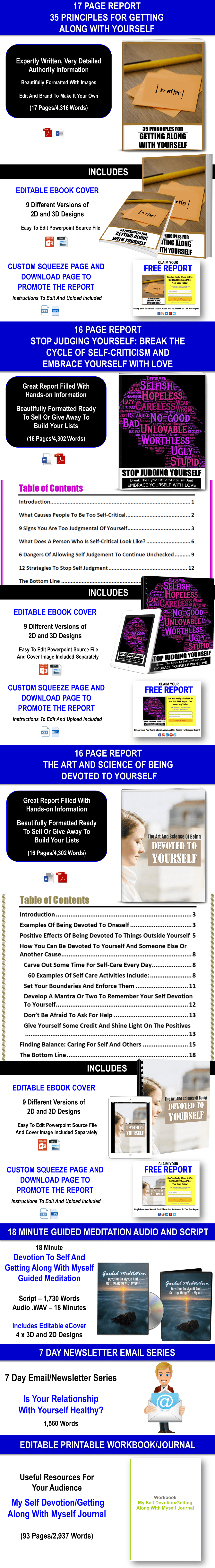 Get Along With Yourself And Devotion To Yourself Content Pack With PLR Rights