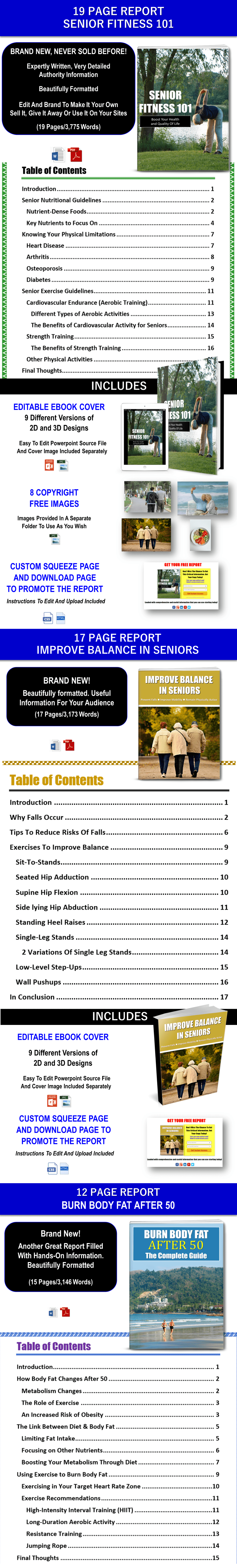 Senior Fitness and Fat Burning As You Age Content - PLR Rights