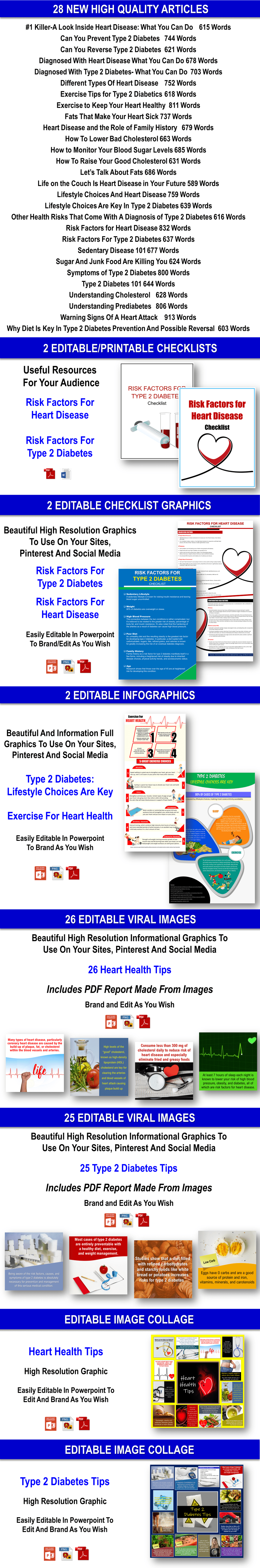 Heart Disease And Type 2 Diabetes Content Pack PLR Rights