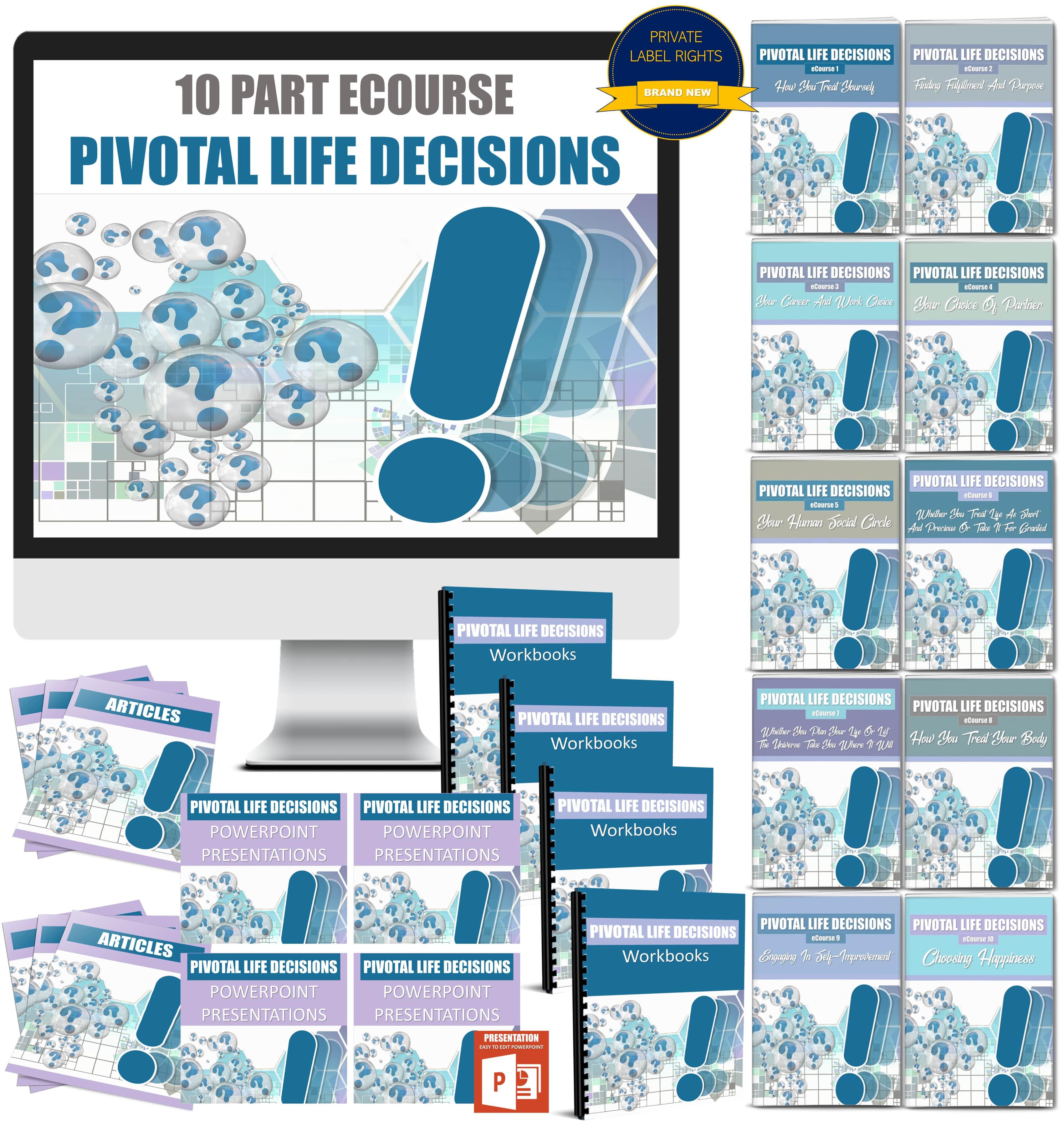 10 Part eCourse: Pivotal Life Decisions 325+ Piece PLR Pack