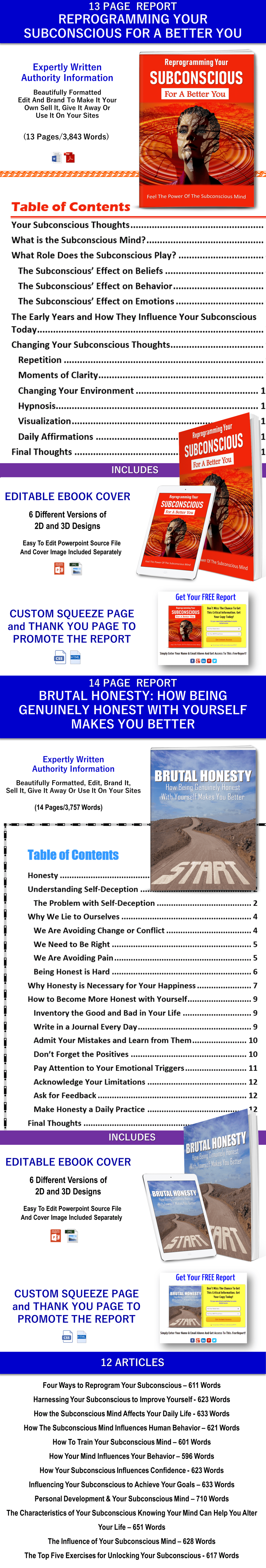 Reprogramming Your Subconscious and Brutal Honesty Self Help PLR