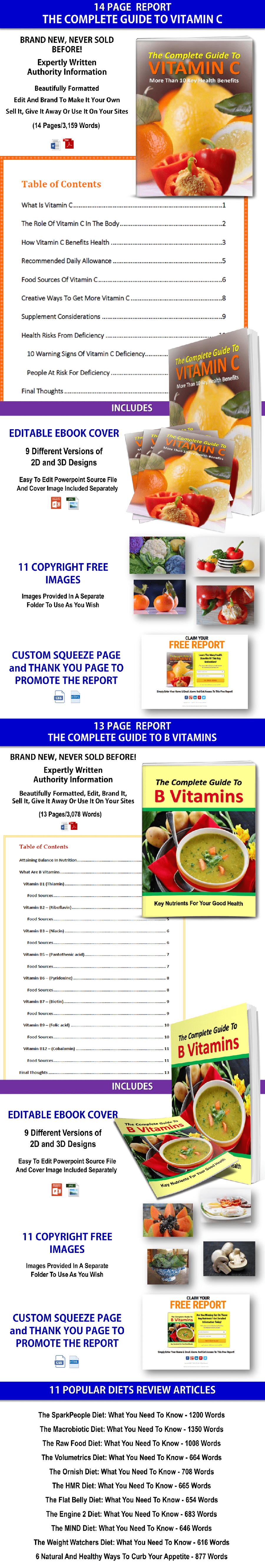 Vitamins And Popular Diets PLR