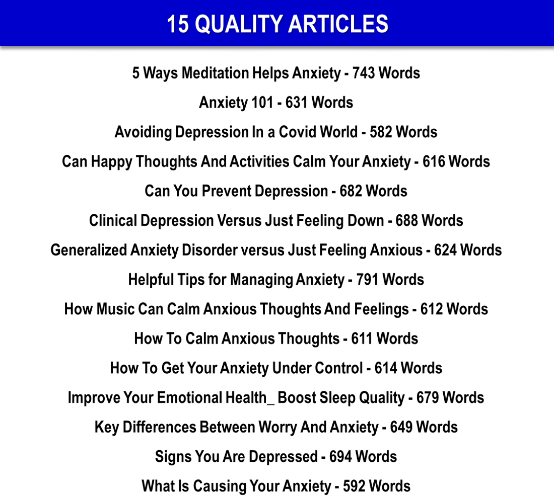 Worry Induced Insomnia, Managing Anxiety And Depression 101 Reports and 10 Articles PLR