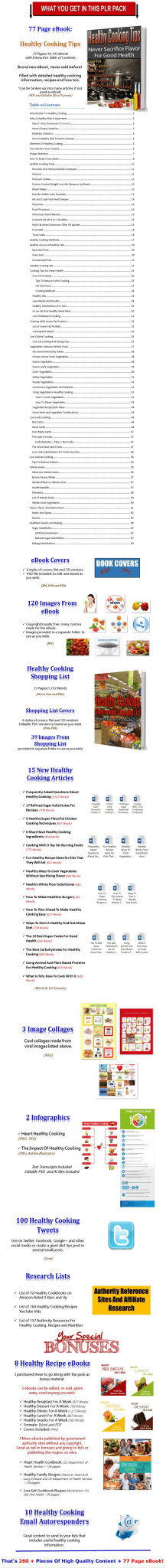 Healthy Cooking eBook, Articles, Videos, Slideshows PLR Pack