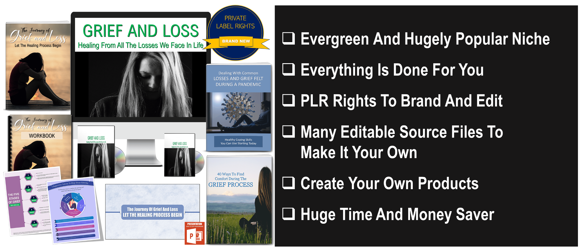 Grief and Loss Giant Content Pack with PLR Rights