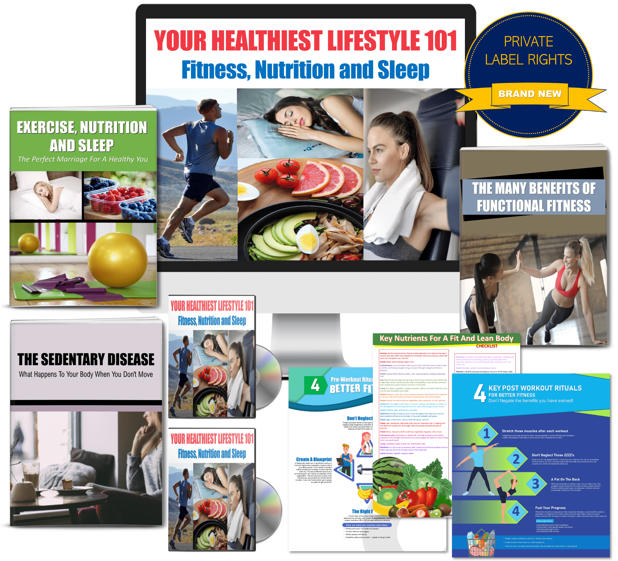 Your Healthiest Lifestyle 101: Fitness, Nutrition And Sleep Giant Content Pack with PLR Rights