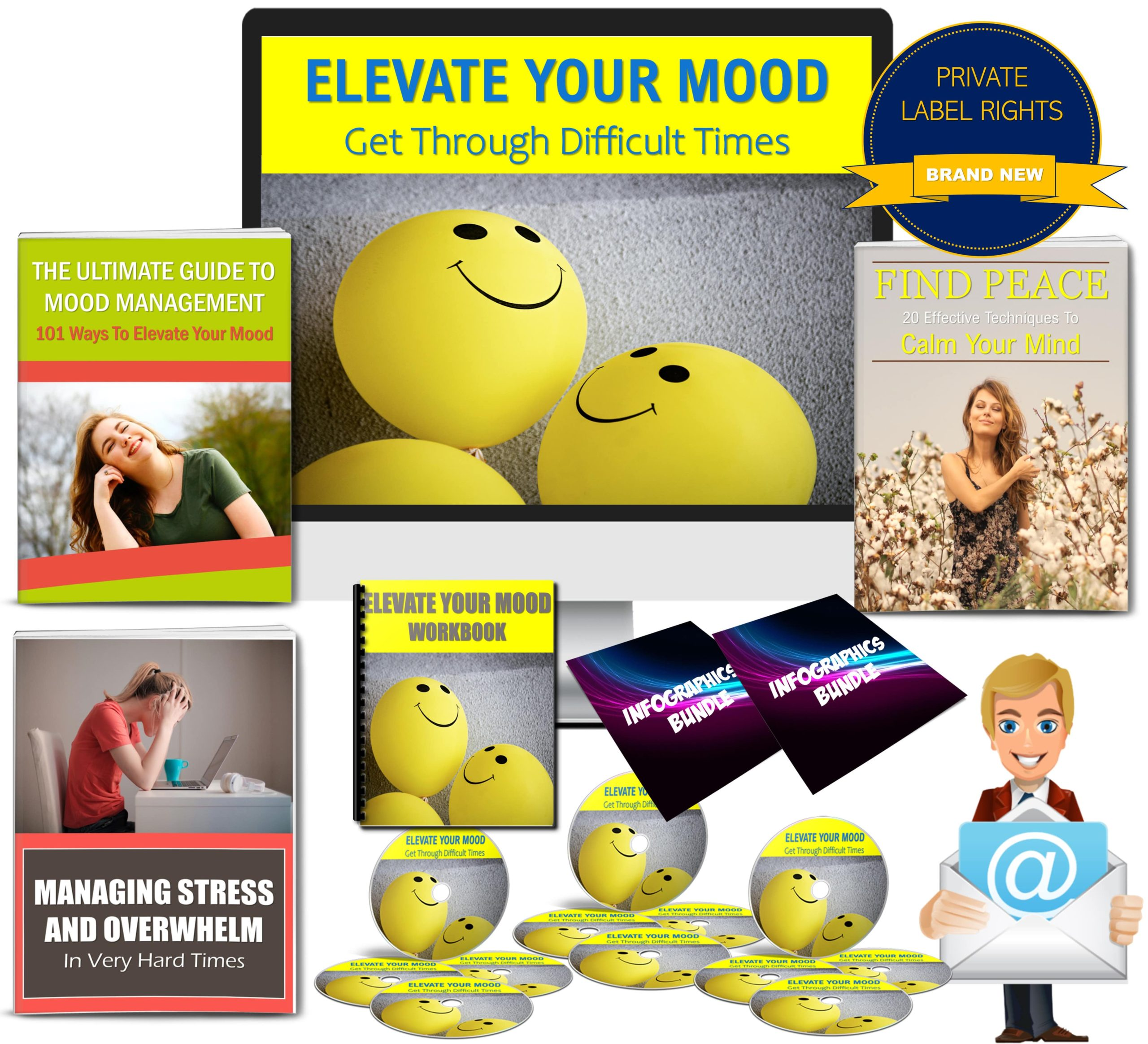 Elevate Your Mood: Get Through Difficult Times 300 Pcs. PLR
