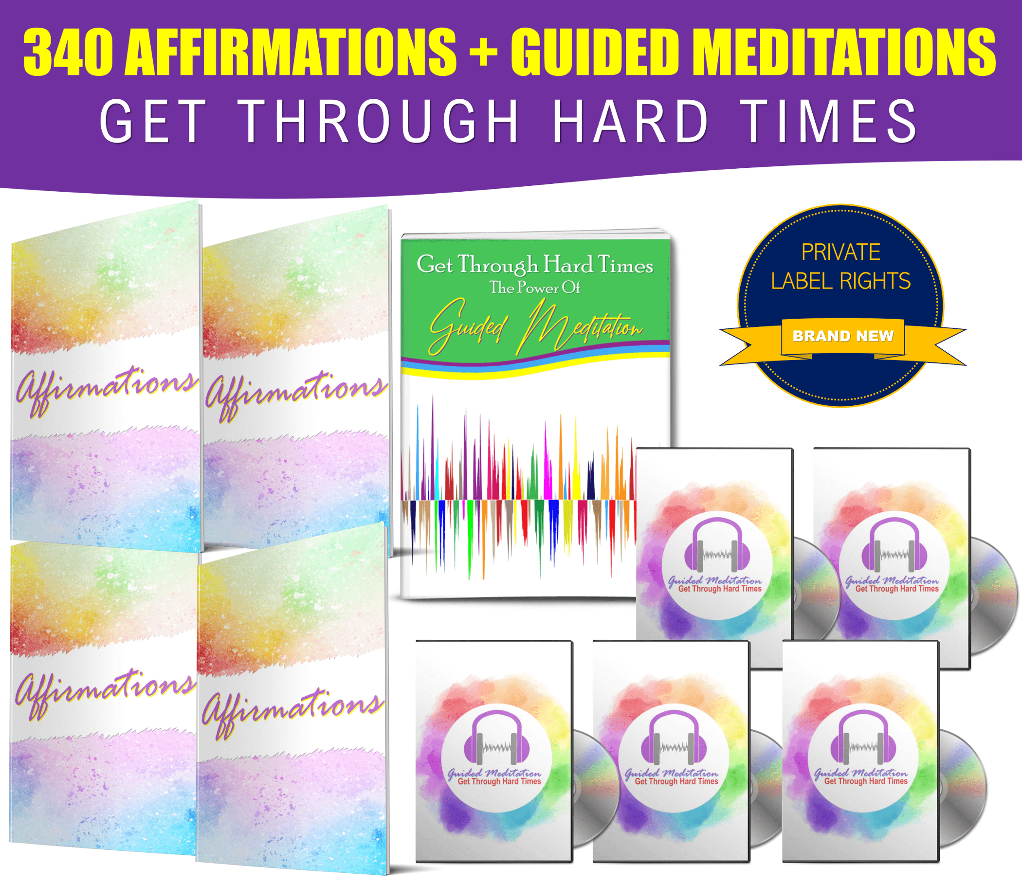 Get Through Tough Times: Affirmations And Guided Meditations Giant PLR