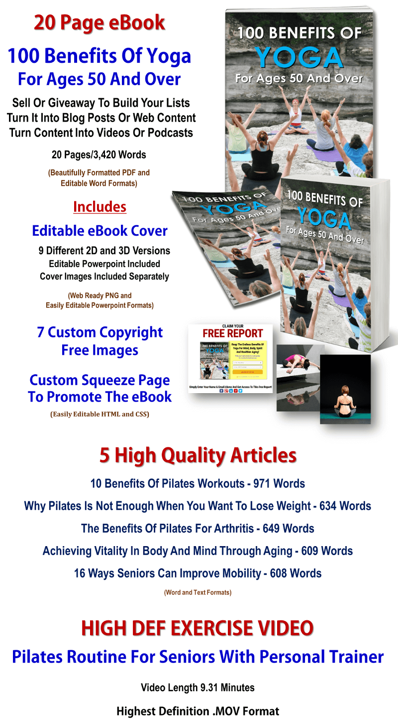 Yoga And Pilates For Seniors Report, Video & Articles PLR